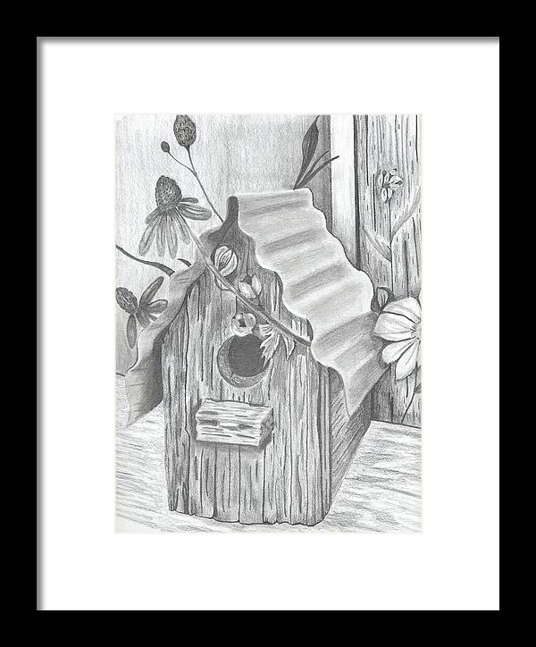 Bird Framed Print featuring the drawing Birdhouse And Flowers by DebiJeen Pencils