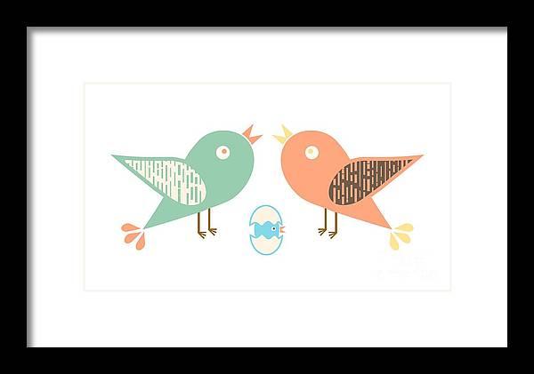 Nature Framed Print featuring the digital art Birds And Egg by Gaspar Avila
