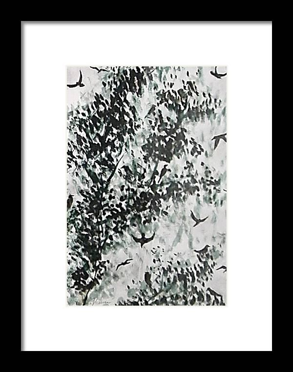 Birds Framed Print featuring the painting Birds At Sundown II by Caroline Urbania Naeem