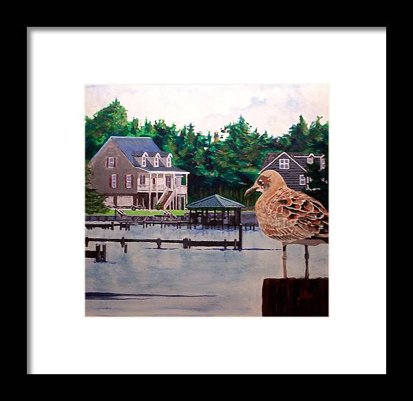 Coastal Framed Print featuring the painting Birds Eye View by Jim Phillips