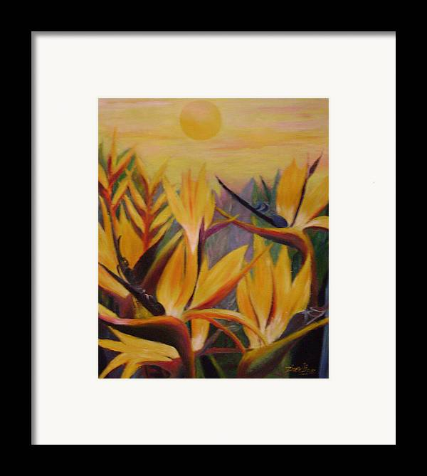 Floral Framed Print featuring the painting Birds From Heaven by Lian Zhen