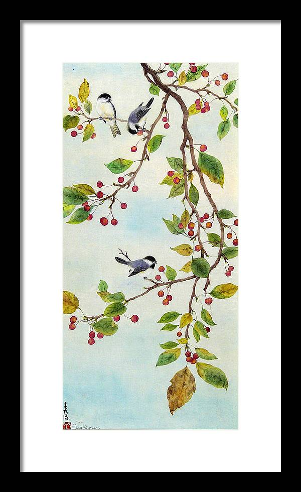 Bird Framed Print featuring the painting Birds In Autumn Season by Ying Wong