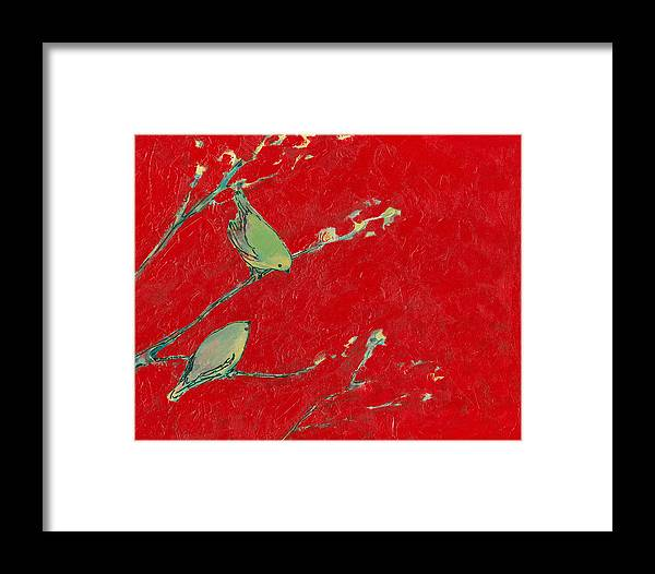Nature Framed Print featuring the painting Birds In Red by Jennifer Lommers