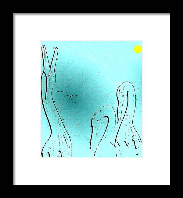 Abstract Framed Print featuring the digital art Birds Of A Feather by Will Borden