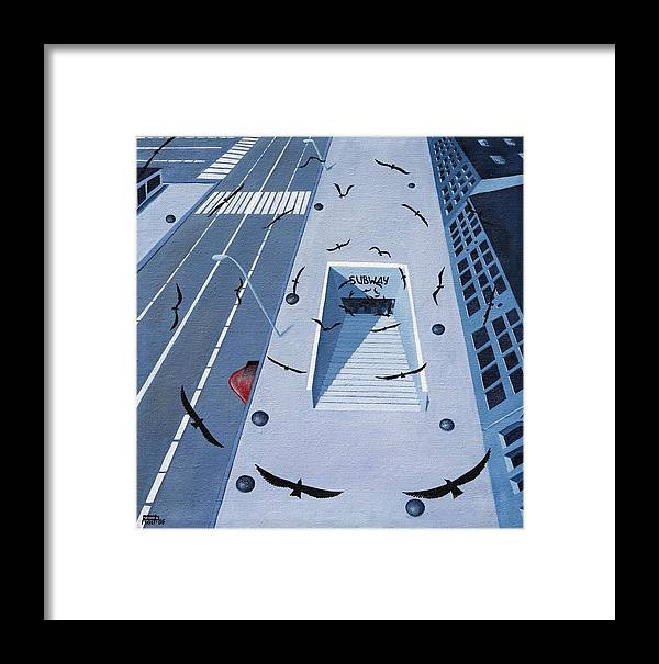 Birds Apocalypse Urban City Ominous Framed Print featuring the painting birds of apocalypse IV by Poul Costinsky