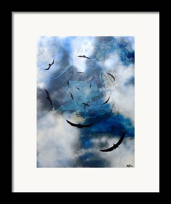 Landscape Birds Apocalypse Ominous Surreal Framed Print featuring the painting birds of apocalypse VI by Poul Costinsky
