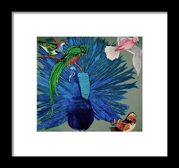 Pajaritos Framed Print featuring the painting Birds Of Different Feathers. by George Chacon