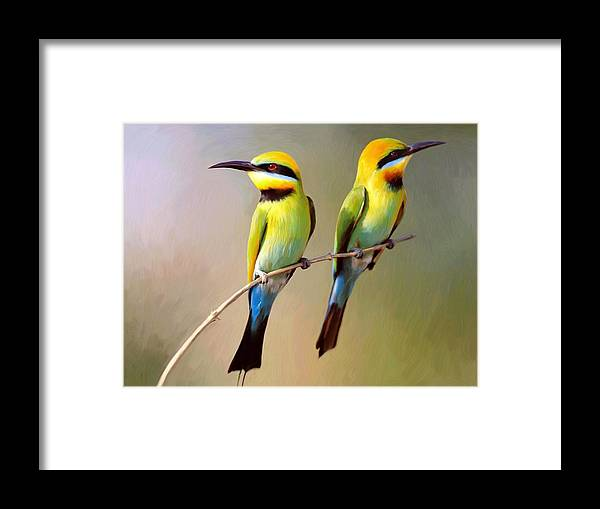 Birds Framed Print featuring the digital art Birds On A Branch by Snake Jagger