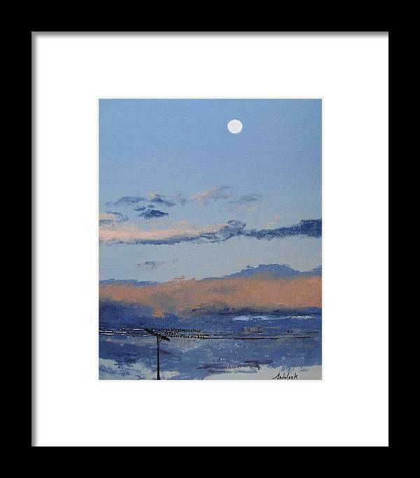 Landscape Framed Print featuring the painting Birds On A Wire by Barbara Andolsek