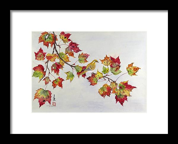 Bird Framed Print featuring the painting Birds On Maple Tree 1 by Ying Wong