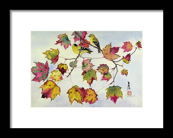 Bird Framed Print featuring the painting Birds On Maple Tree 10 by Ying Wong