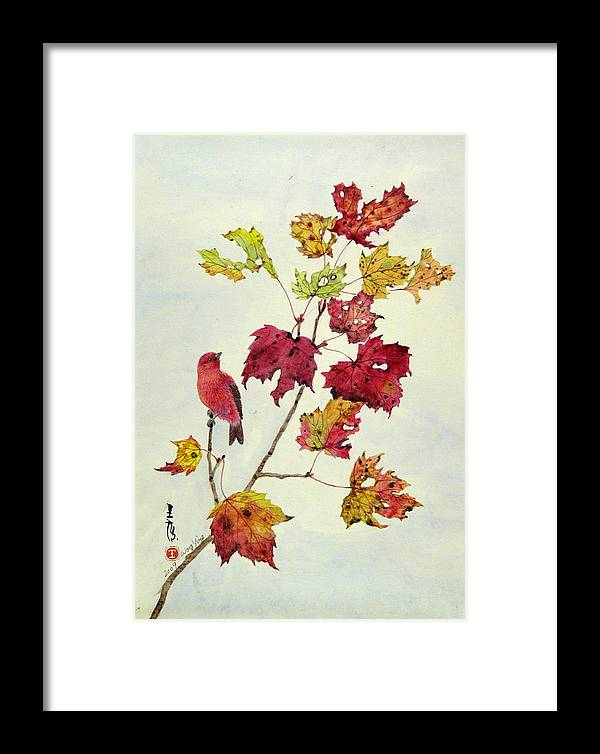 Bird Framed Print featuring the painting Birds On Maple Tree 12 by Ying Wong