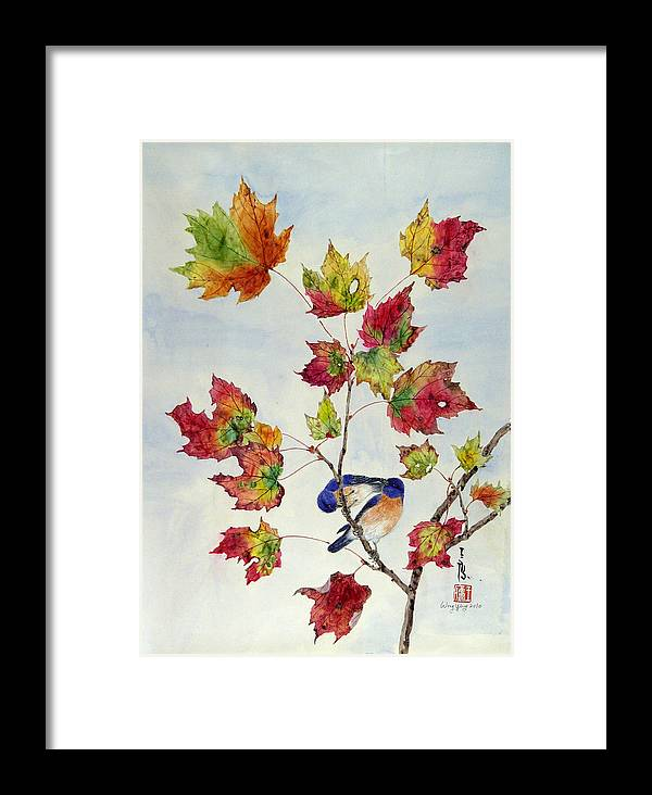 Bird Framed Print featuring the painting Birds On Maple Tree 8 by Ying Wong