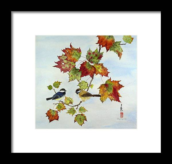 Bird Framed Print featuring the painting Birds On Maple Tree 9 by Ying Wong
