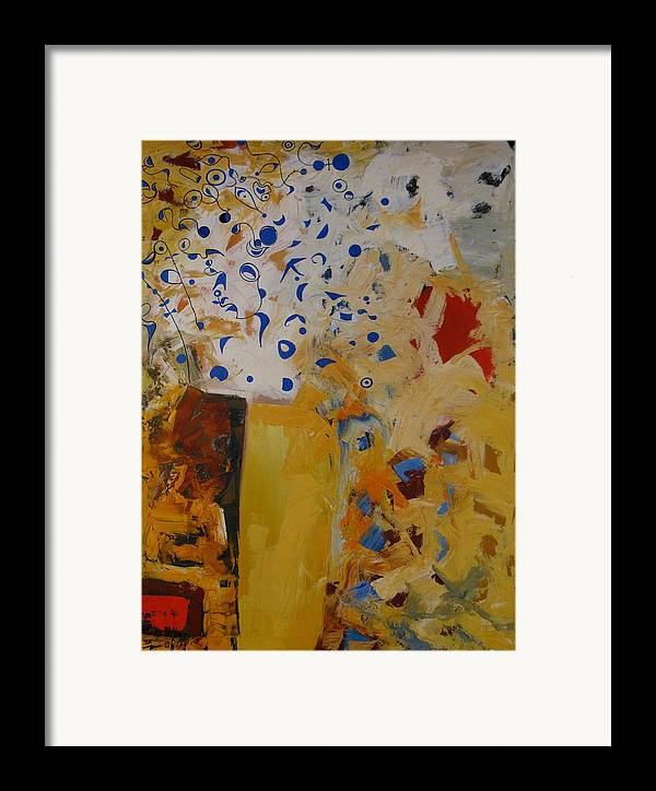Abstract Framed Print featuring the painting Birdsong by David McKee
