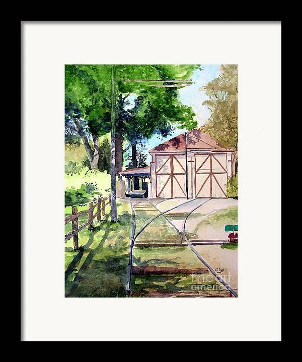 Trolley Framed Print featuring the painting Birney Trolley Barn by Tom Riggs