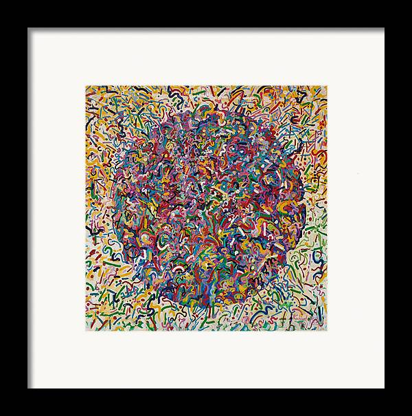 Abstract Framed Print featuring the painting Birth Growth Decay by Richard Heley