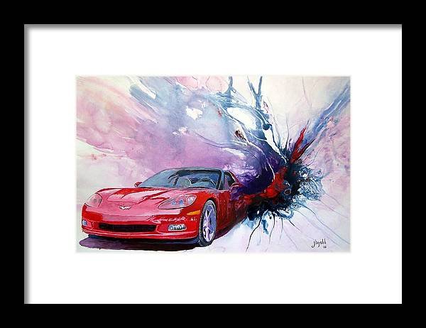 Red Corvette; C6; Framed Print featuring the painting Birth Of A Corvette by John Gabb
