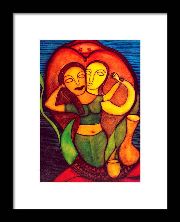 Painting Framed Print featuring the painting Birth Of Laxmi by Nabakishore Chanda