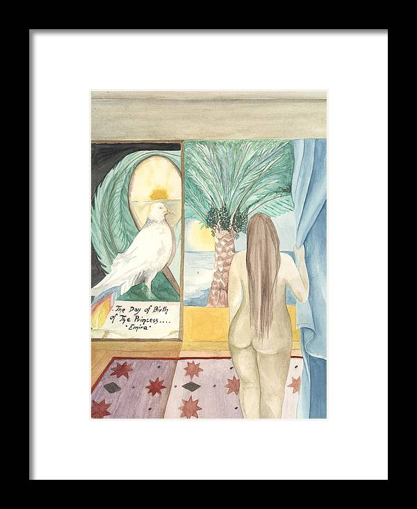 Bird Framed Print featuring the painting Birth Of Princess Emira by Amrei Al-Tobaishi-Jarosch