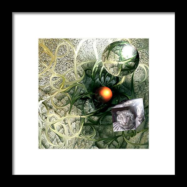 Abstract Nature Red Birth Tiger Spheres Wire Framed Print featuring the digital art Birth by Veronica Jackson