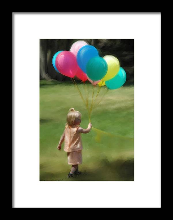 Birthday Framed Print featuring the digital art Birthday Balloons by Lisa Westrope