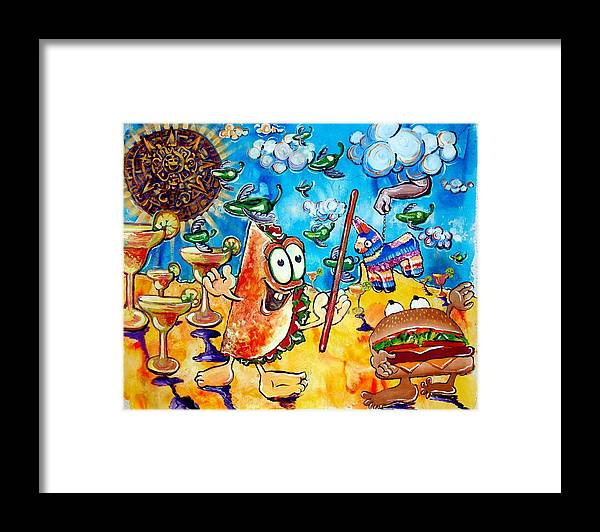 Mexican Art Framed Print featuring the painting Birthday Party With Mister Taco And Piata by Charles Harrison Pompa