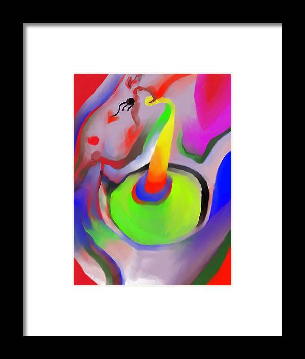 Colorful Framed Print featuring the digital art Birthday Surprise by Peter Shor