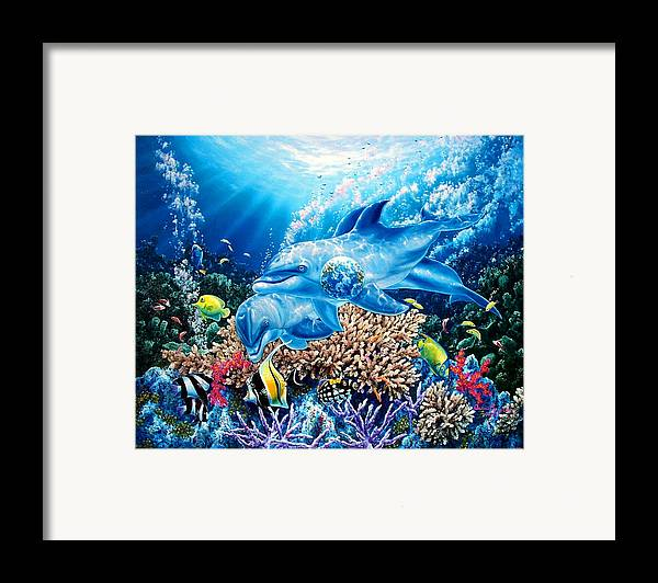 Dolphin Framed Print featuring the painting Birthright by Daniel Bergren