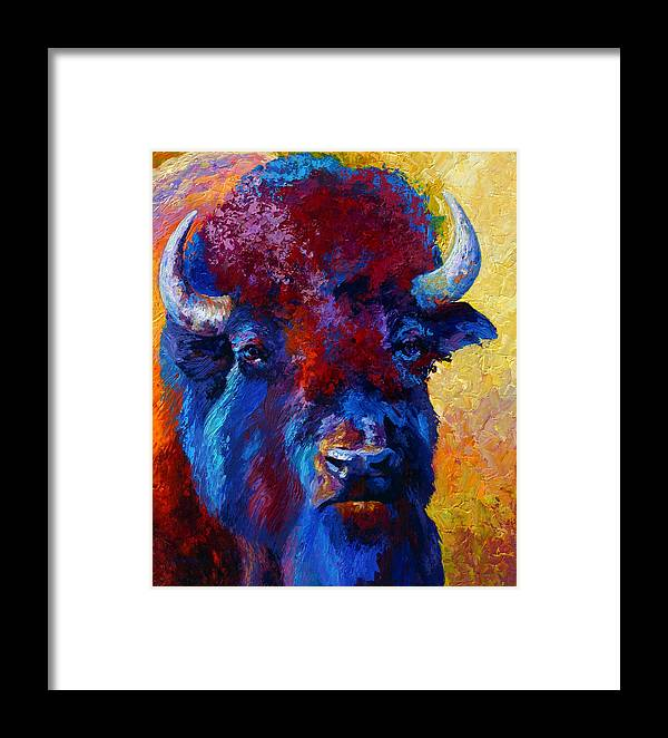 Wildlife Framed Print featuring the painting Bison Boss by Marion Rose