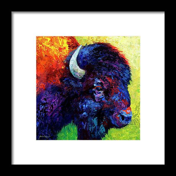 Bison Framed Print featuring the painting Bison Head Color Study III by Marion Rose