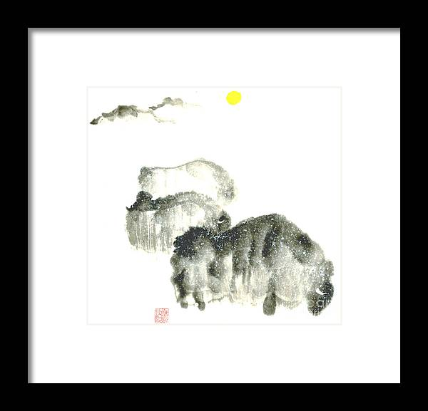 A Herd Of Bison Grazing In Snow. This Is A Contemporary Chinese Ink And Color On Rice Paper Painting With Simple Zen Style Brush Strokes.  Framed Print featuring the painting Bison In Snow II by Mui-Joo Wee