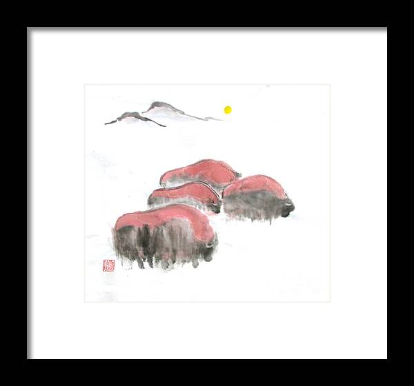 A Herd Of Bison .  Framed Print featuring the painting Bisons In Snow I by Mui-Joo Wee