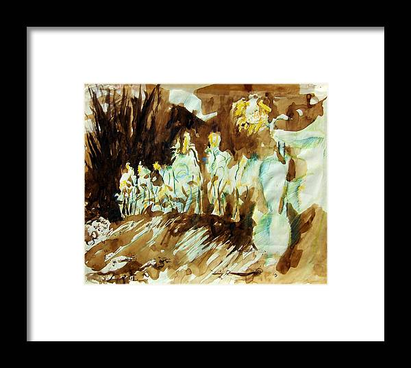 Sunflower Framed Print featuring the drawing Bistre Sunflowers by Diana Ludwig