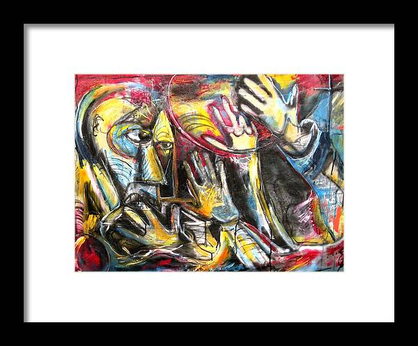 Abstract Framed Print featuring the painting Bite The Hand That Feeds by Jon Baldwin Art