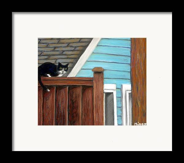 Cat Framed Print featuring the painting Black Alley Cat by Minaz Jantz
