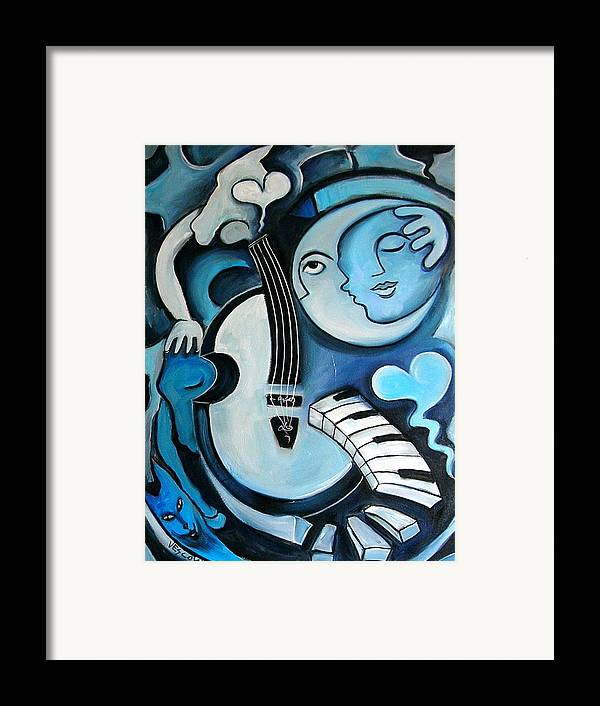 Abstract Framed Print featuring the painting Black And Bleu by Valerie Vescovi