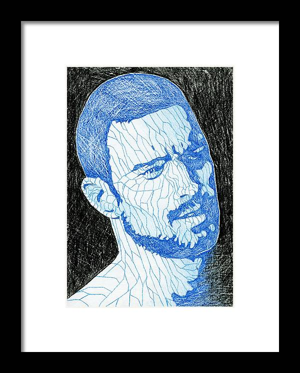 Gay Framed Print featuring the drawing Black And Blue Man Portrait by Anti Quos
