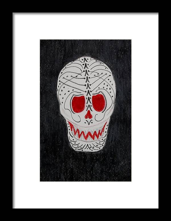 Skull Framed Print featuring the mixed media Black And Red by Charla Van Vlack