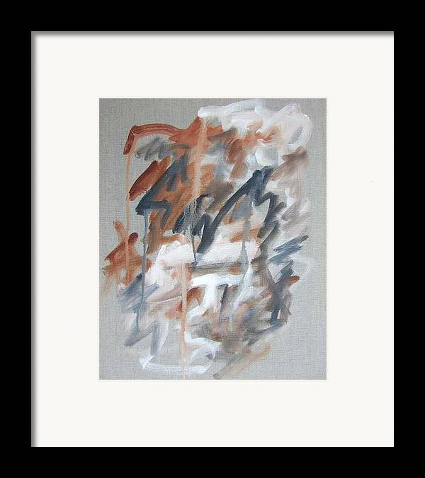 Abstract Framed Print featuring the painting Black And Tan No 1 by Michael Henderson