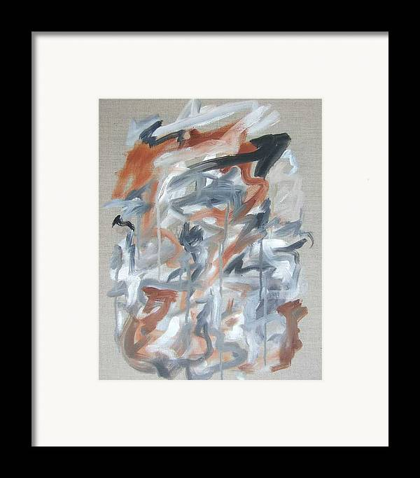 Abstract Framed Print featuring the painting Black And Tan No 2 by Michael Henderson