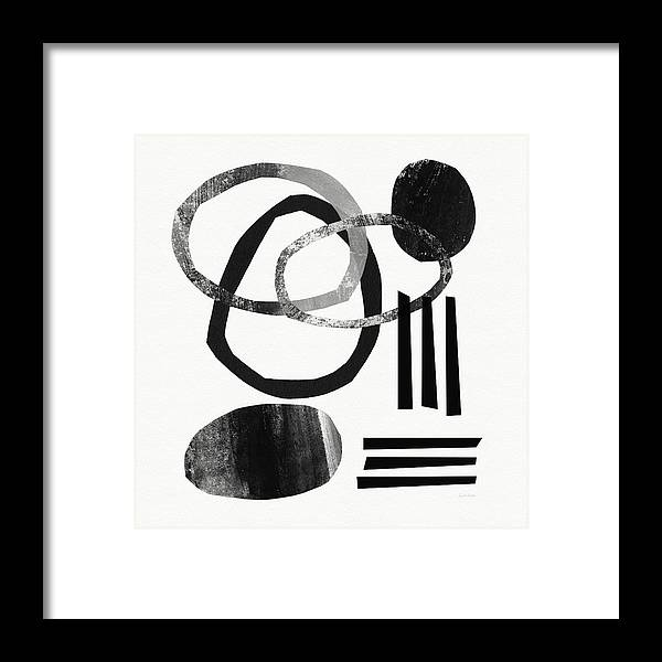 Black And White Abstract Framed Print featuring the mixed media Black and White- Abstract Art by Linda Woods
