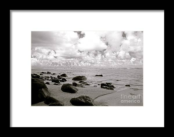 Beach framed print featuring the photograph black and white beach scene by kicka witte printscapes