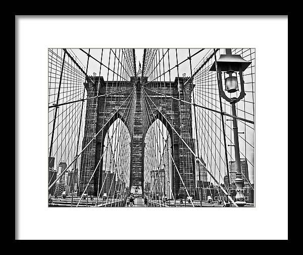 Brooklyn Bridge Framed Print featuring the photograph Black And White Brooklyn Bridge by Allan Einhorn