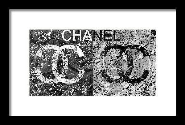 Black And White Chanel Art Framed Print featuring the mixed media Black And White Chanel Art by Dan Sproul