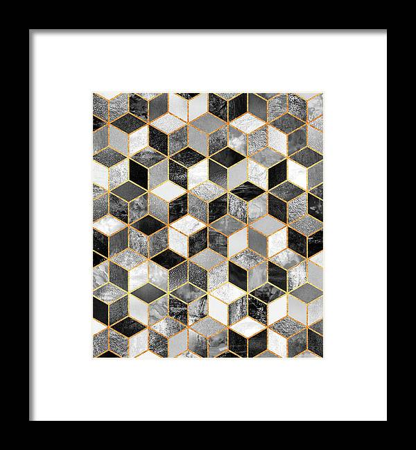 Graphic Design Framed Print featuring the digital art Black and White Cubes by Elisabeth Fredriksson