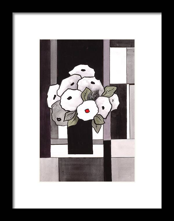 Painting Framed Print featuring the painting Black And White Funny Flowers by Carrie Allbritton