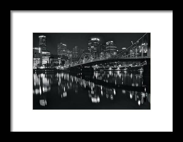 Pittsburgh Framed Print featuring the photograph Black And White Lights by Frozen in Time Fine Art Photography