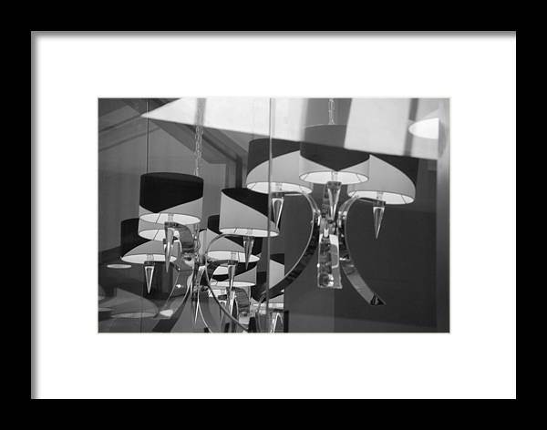 Chandeliers Framed Print featuring the photograph Black And White Lights by Rob Hans