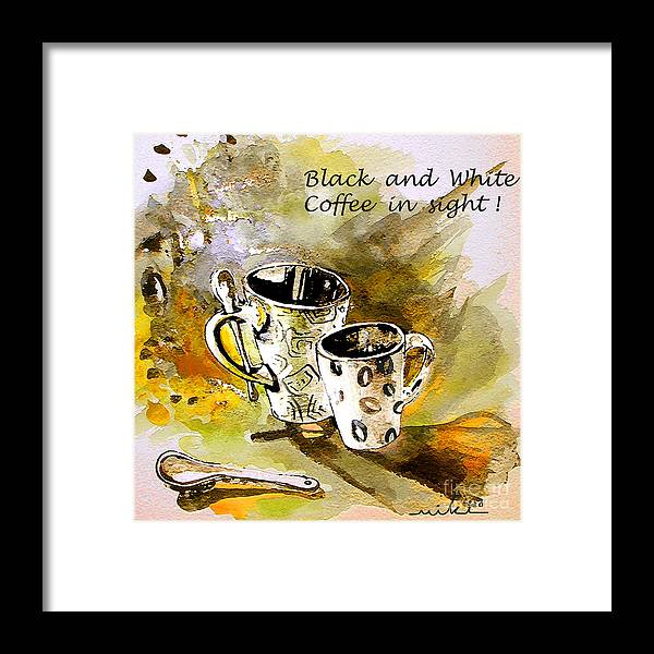 Cafe Crem Framed Print featuring the painting Black and White by Miki De Goodaboom